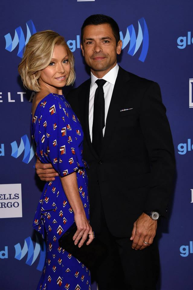 Kelly Ripa and Mark Consuelos attend the 26th Annual GLAAD Media Awards In New York (Photo by MikeCoppola)