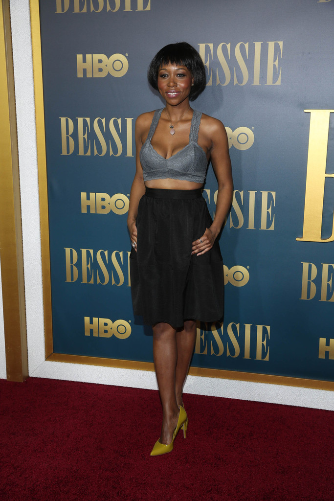 Actress Amanda Warren attends the 'Bessie' New York Screening at The Museum of Modern Ar