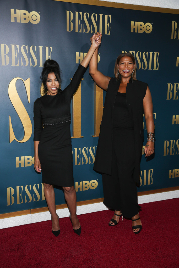 Queen Latifah (R) and Khandi Alexander attend the 'Bessie' New York screening at The Museum of Modern Art