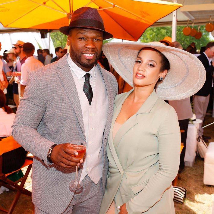 Dascha Polanco and Curtis James Jackson III '50 Cent' attend the Eighth-Annual Veuve Clicquot Polo Classic at Liberty State Park