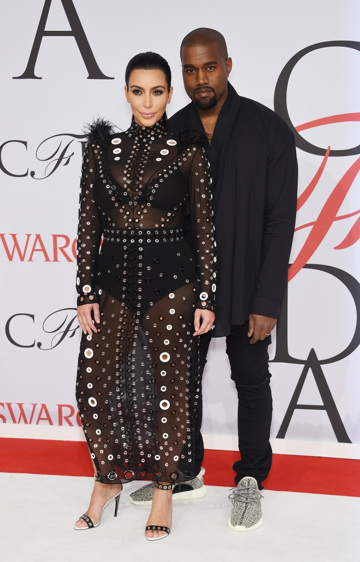 Kim Kardashian West and Kanye West attend the 2015 CFDA Fashion Awards at Alice Tully Hall at Lincoln Center
