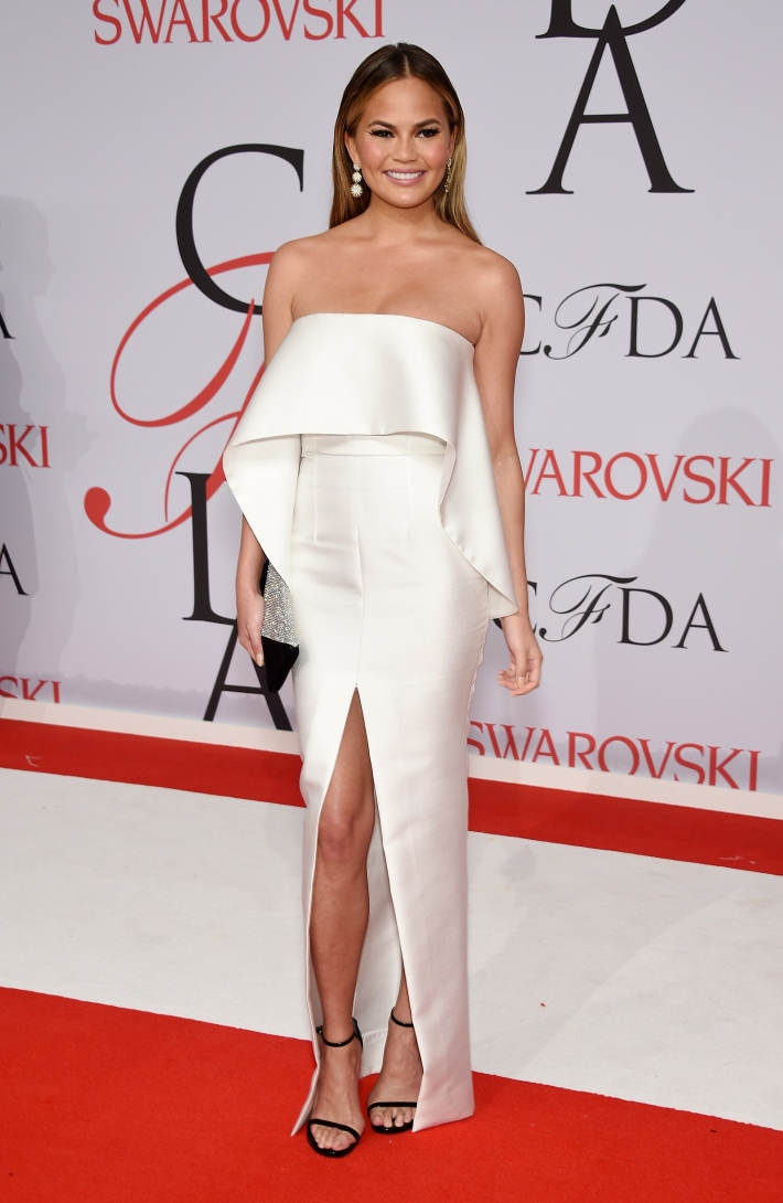 Chrissy Teigen attends the 2015 CFDA Fashion Awards at Alice Tully Hall at Lincoln Center