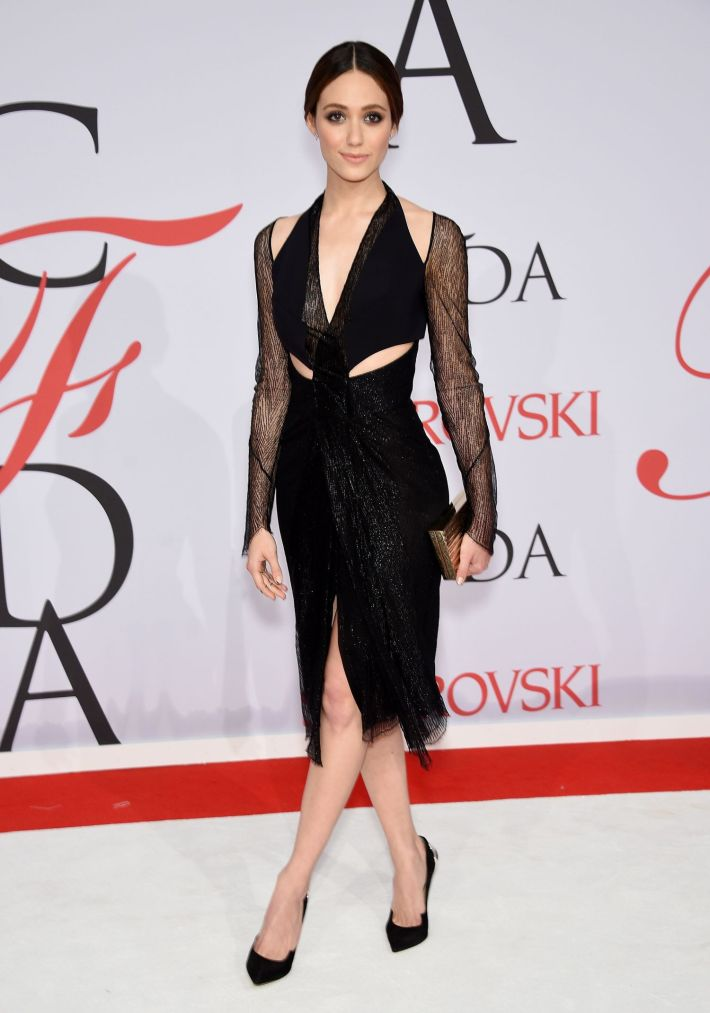 Emmy Rossum attends the 2015 CFDA Fashion Awards at Alice Tully Hall at Lincoln Center