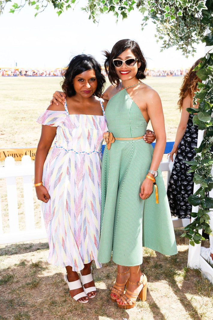 Mindy Kaling and Freida Pinto attend the Eighth-Annual Veuve Clicquot Polo Classic at Liberty State Park