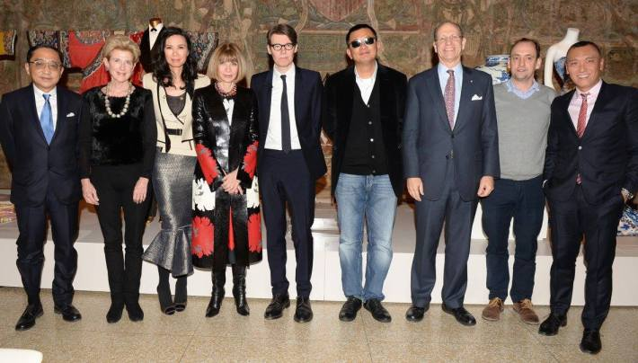 Silas Chou, Emily K. Rafferty, Wendi Murdoch, Anna Wintour, Andrew Bolton, Wong Kar Wai, Maxwell K. Hearn, Nathan Crowley, and Joe Zee China: Through the Looking Glass Exhibition at The Metropolitan Museum of Art