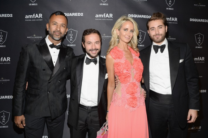 Ronnie Madra, CEO DSQUARED2 Gianfranco Maccarrone, Model Lady Victoria Hervey and guest attend DSQUARED2 And amfAR's Official After Party at 1OAK LA.   (Photo by Michael Kovac)