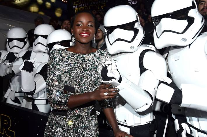 Actress Lupita Nyong'o attends the World Premiere of Star Wars: The Force Awakens!