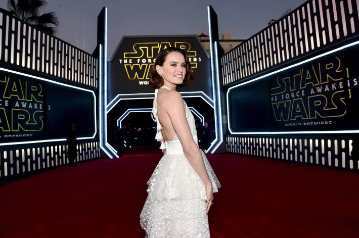 Actress Daisy Ridley attends the World Premiere of Star Wars: The Force Awakens!