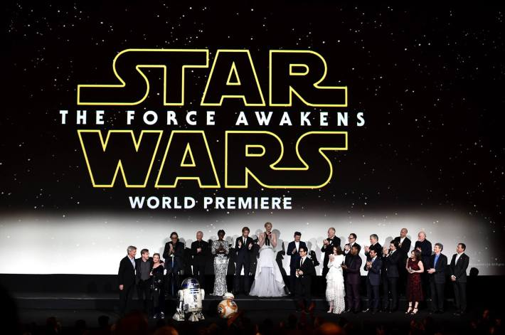 The cast and crew speak onstage during the World Premiere of Star Wars: The Force Awakens!