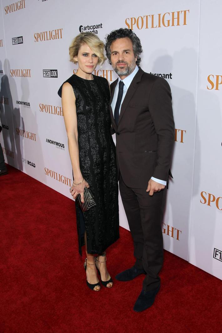 Sunrise Coigney, Mark Ruffalo attend the 'Spotlight' New York premiere at Ziegfeld Theater in New York City