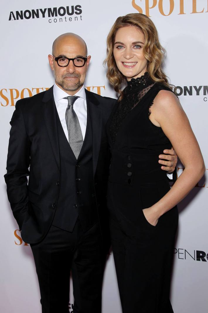 Stanley Tucci, Felicity Blunt attend the 'Spotlight' New York premiere at Ziegfeld Theater in New York City