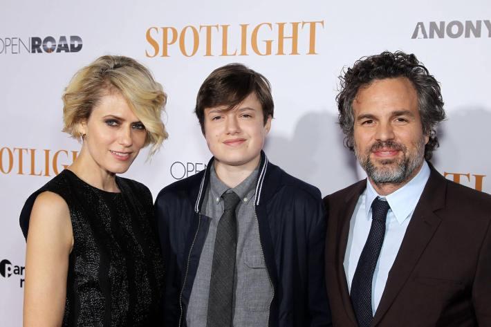 Sunrise Coigney, Keen Ruffalo and Actor Mark Ruffalo attend the 'Spotlight' New York premiere at Ziegfeld Theater in New York City
