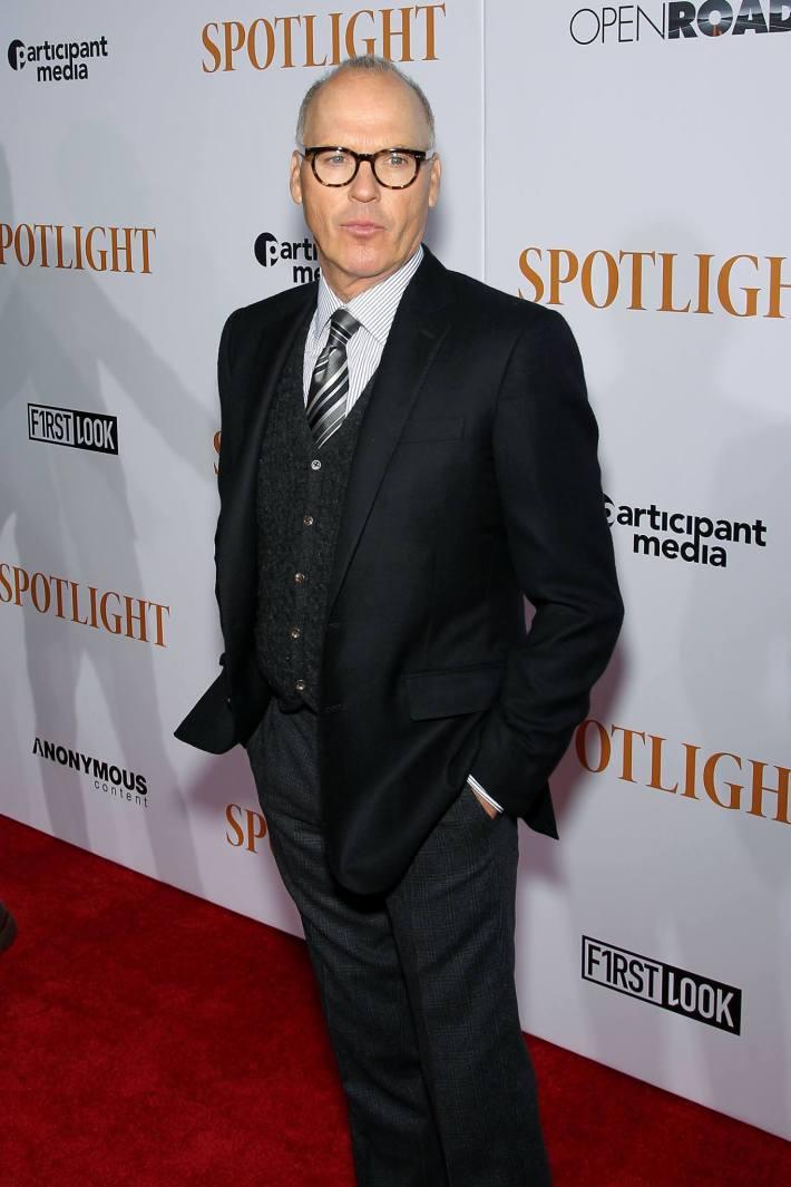 Actor Michael Keaton attends the 'Spotlight' New York premiere at Ziegfeld Theater in New York City