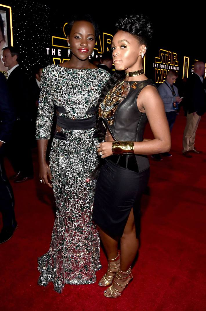 Actress Lupita Nyong'o (L) and recording artist Janelle Monae attend the World Premiere of Star Wars: The Force Awakens!