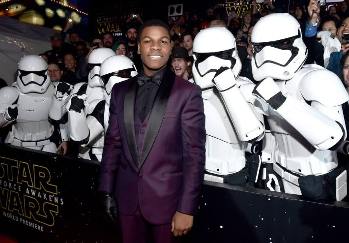 Actor John Boyega attends the World Premiere of Star Wars: The Force Awakens!