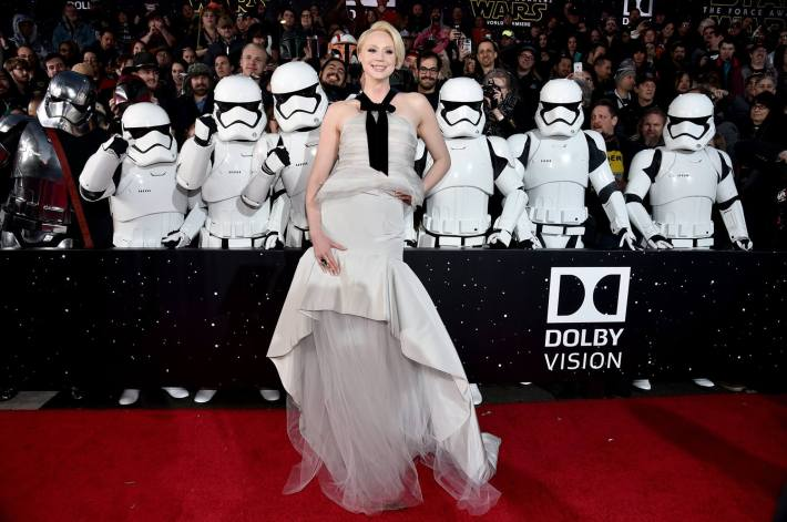 Actress Gwendoline Christie attends the World Premiere of Star Wars: The Force Awakens!